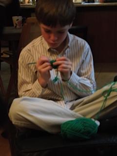 theo crocheting