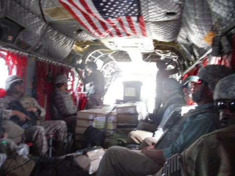 Paul's helicopter s on route to Afghanistan that safely delivered he and fellow soldiers to their base.